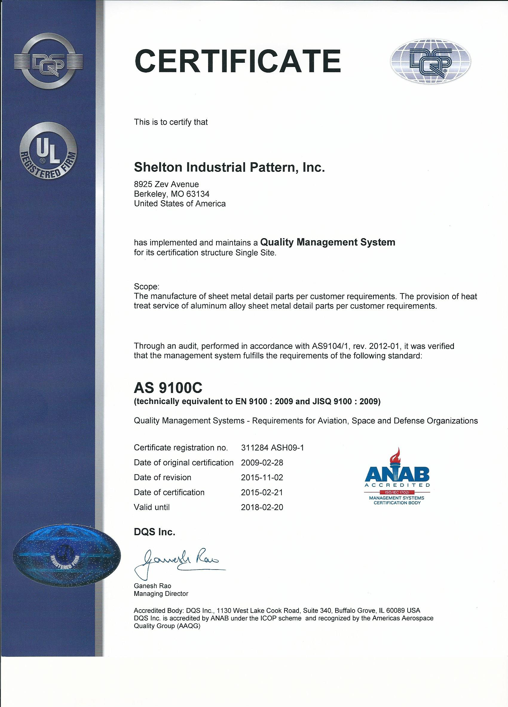 Aerospace Manufacturing Company Shelton Industrial Pattern